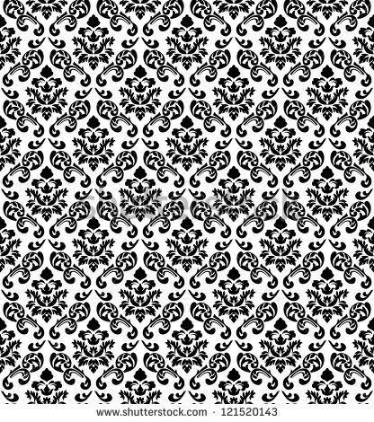 Damask Seamless Vector Pattern In Black And White Colors Elegant Design In Royal Baroque Style Ba Floral Background Textured Background Print Design Pattern