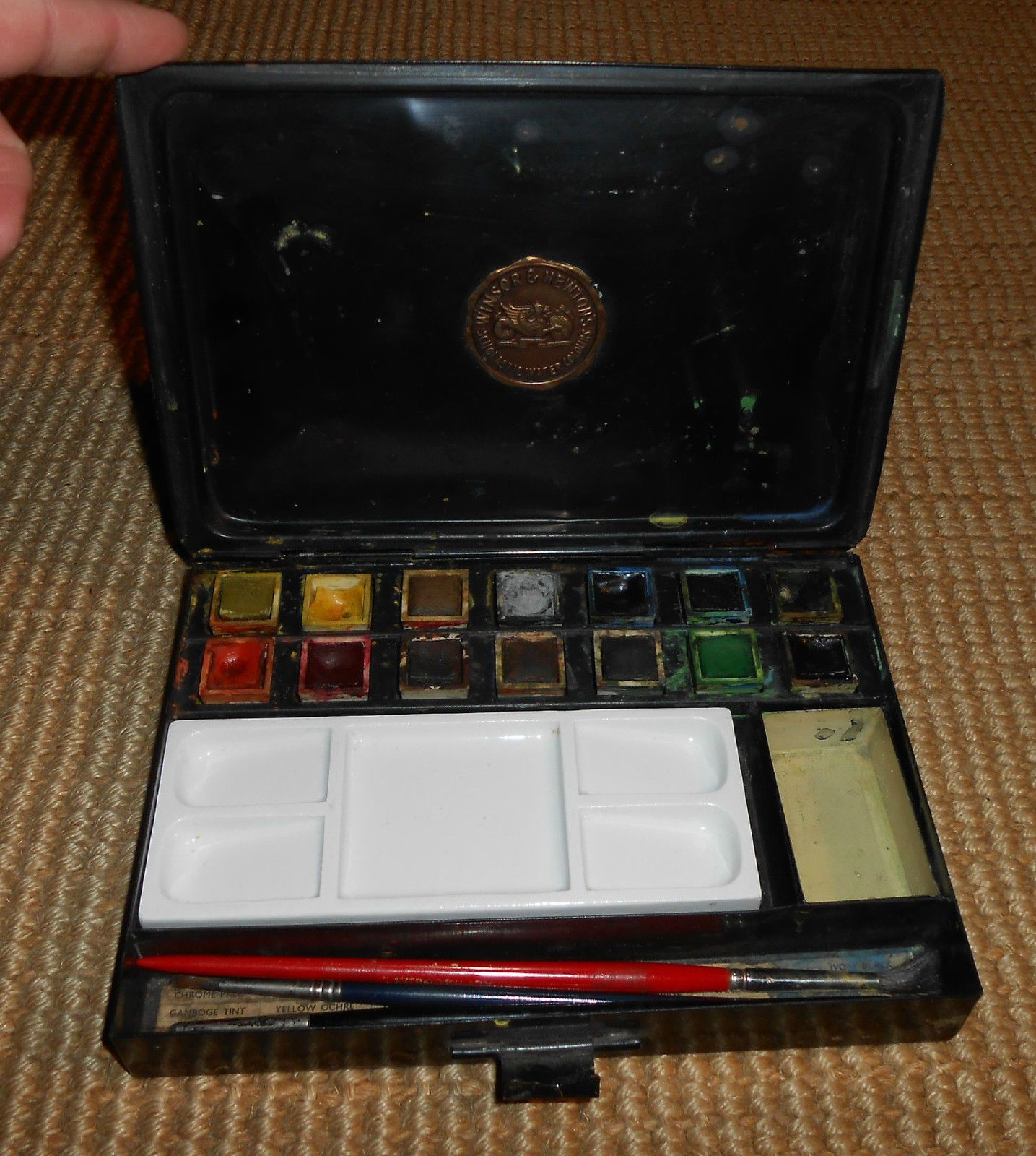 Vintage Winsor Newton Tin Scholastic Watercolor Paint Set Ca 1910