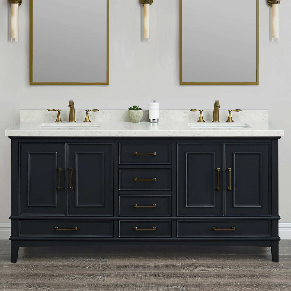 Parker Midnight 72 Inch Double Sink Vanity By Mission Hills In
