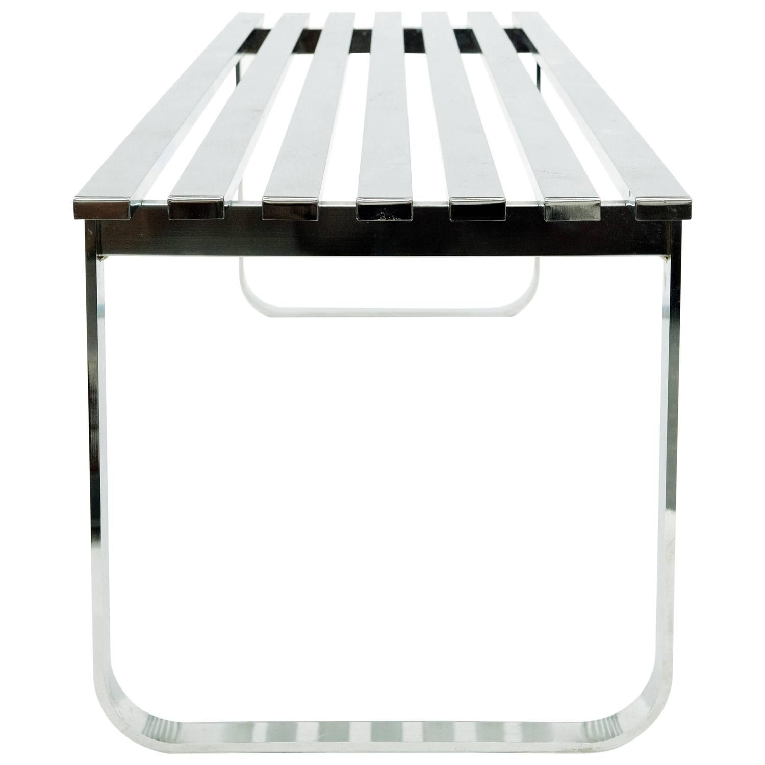 milo baughman chrome slat bench see more antique and modern coffee and cocktail tables at