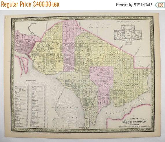 Washington DC Map Original Antique Map Mitchell Map City - Us washington dc map