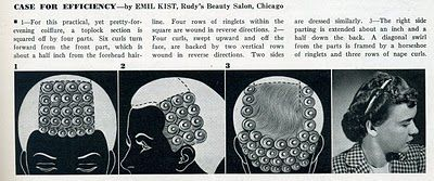 During WW II women who worked in factories were encouraged to cut their hair short so as not to get it caught in the machines that they used (4).