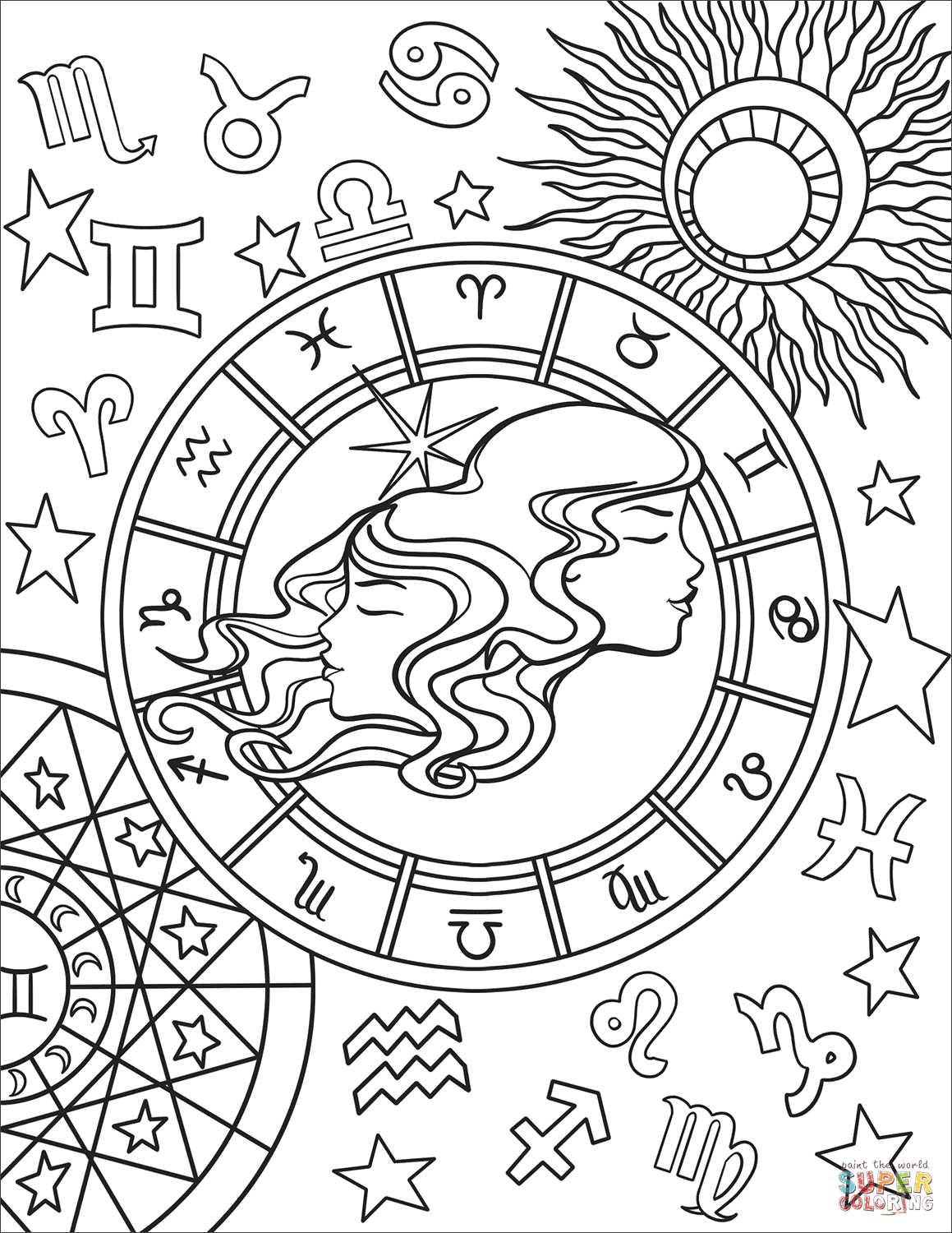 Gemini Zodiac Sign Super Coloring Zodiac Signs Colors Free Printable Coloring Pages Printable Coloring Pages