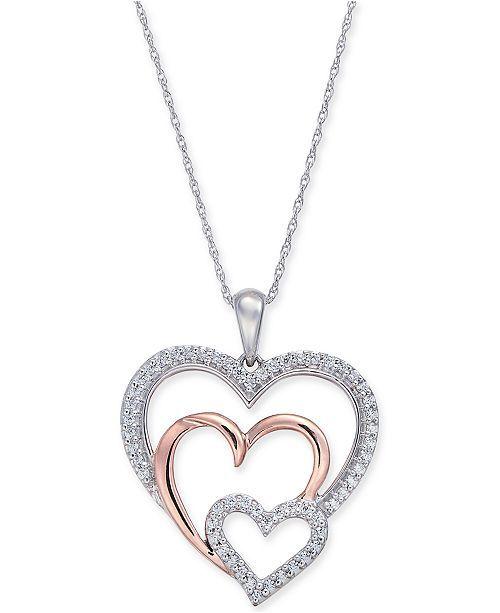 Macy's Diamond Two-Tone Triple Heart 18 Diamond Two-Tone Triple Heart Pendant Necklace ct.) in White & Rose Gold – multi