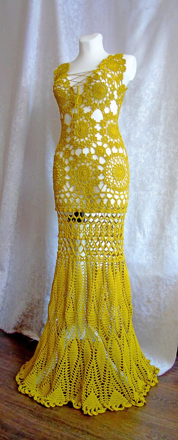 Lace dress open back  Vneck Prom Lace dress Mustard Yellow Crochet wedding dress Open
