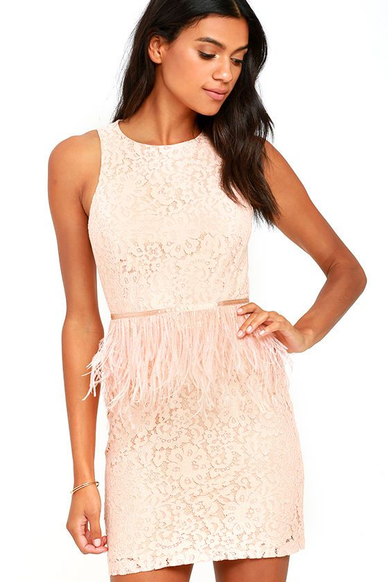 1f00d90652d7 The Fancy Dance Blush Pink Lace Feather Dress is sophisticated and fun, all…