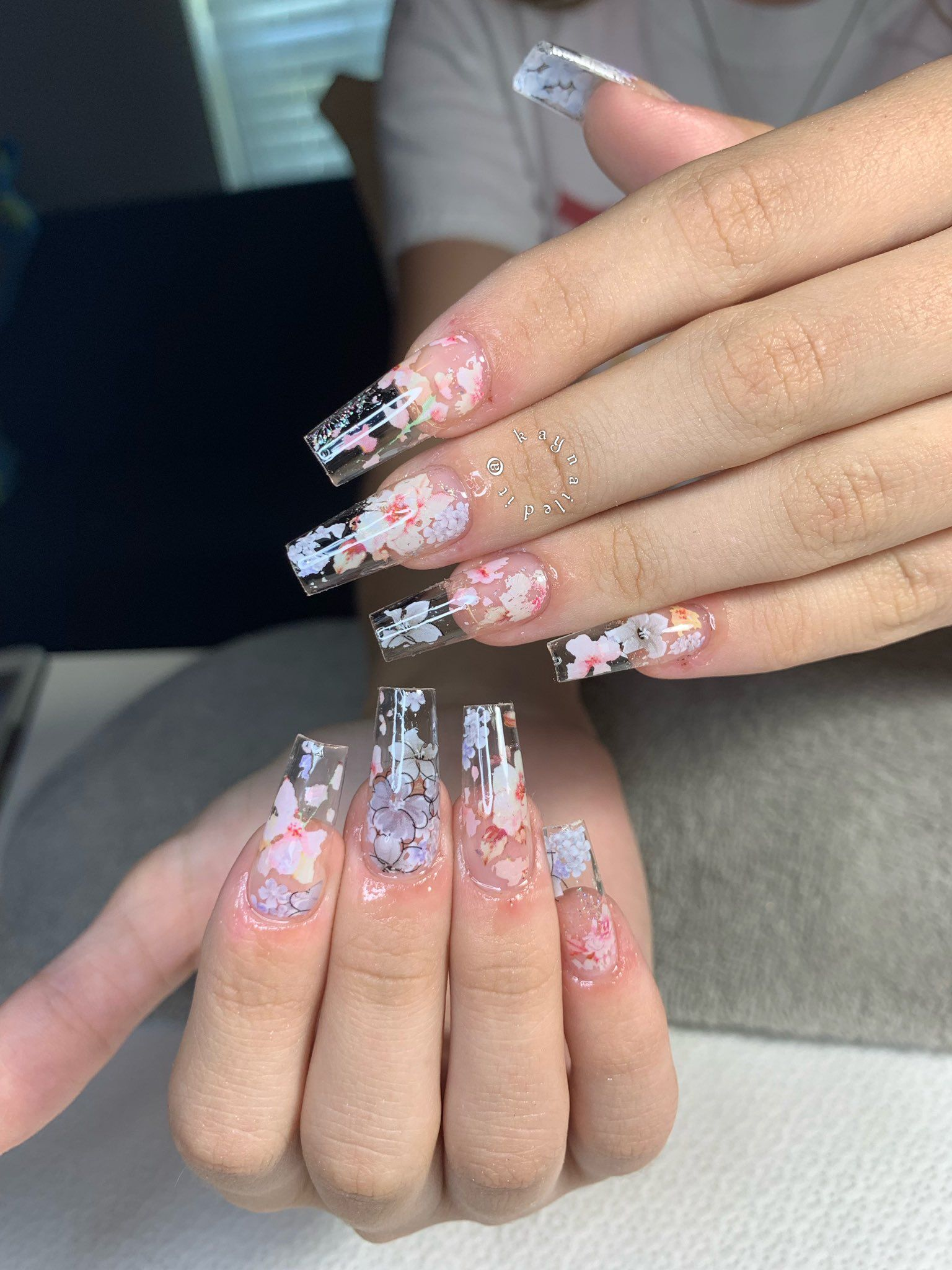 Kay The Nail Faerie On Twitter Floral Nails Clear Acrylic Nails Coffin Nails Designs