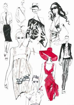 Jaqueline Bissett - fashion drawings