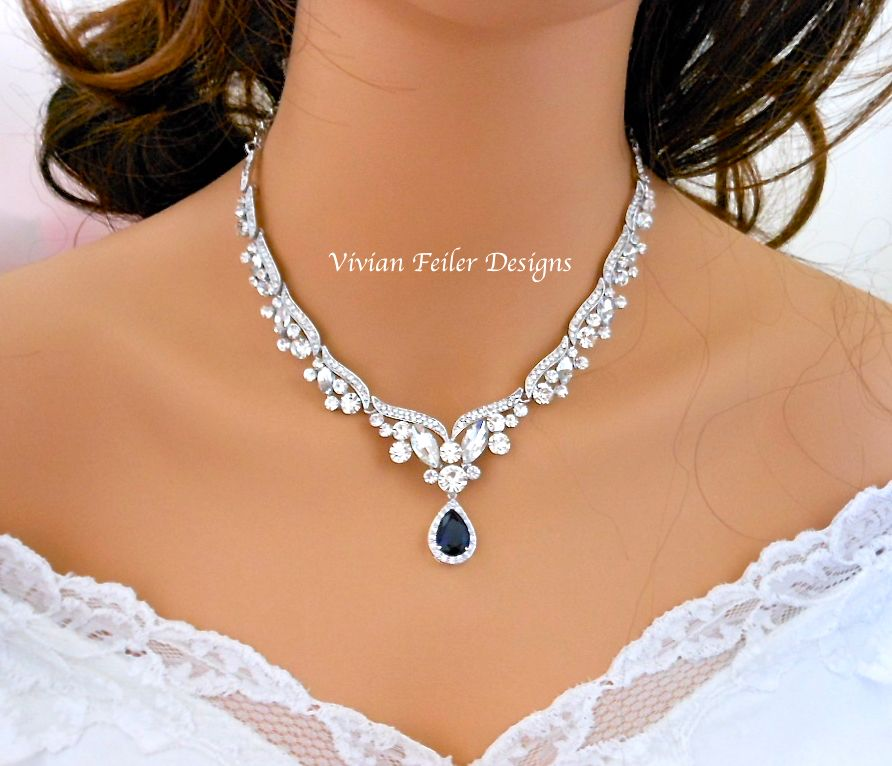 Sapphire blue wedding necklace bridal necklace tear drop mother sapphire blue wedding necklace bridal necklace tear drop mother vivian feiler designs mother junglespirit Gallery