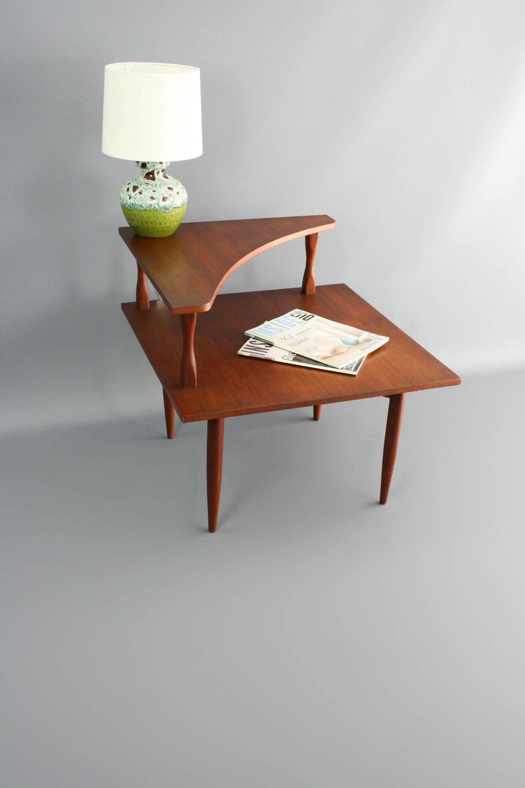 MID Century Teak Corner Side Coffee Table Two Tier Retro Vintage