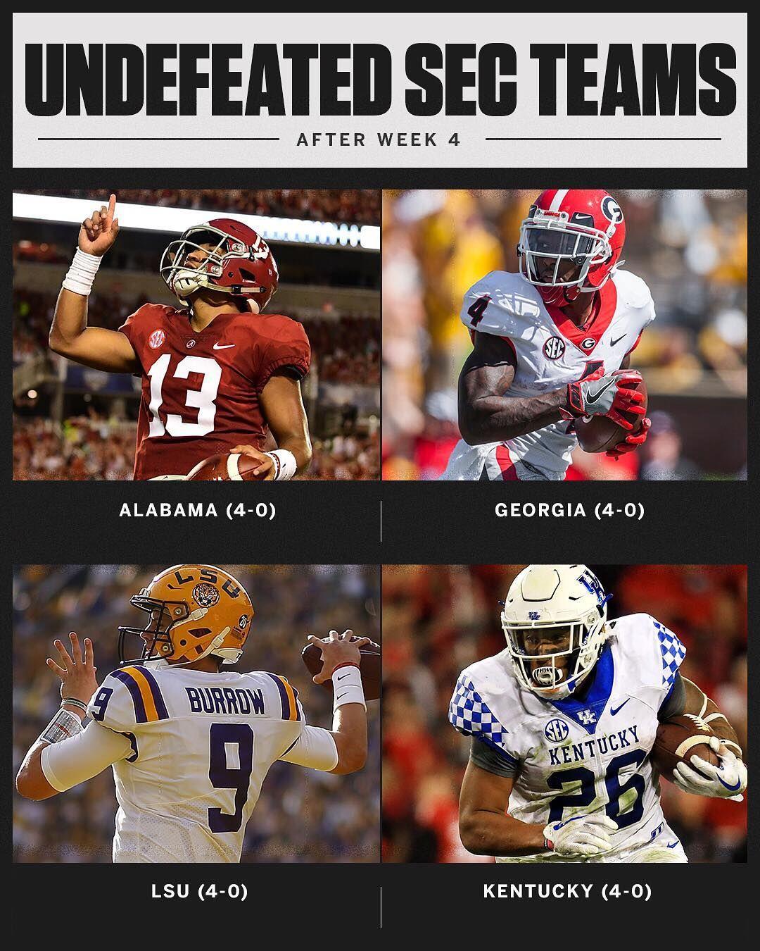Week 4 SEC Undefeated Teams Crimson tide football
