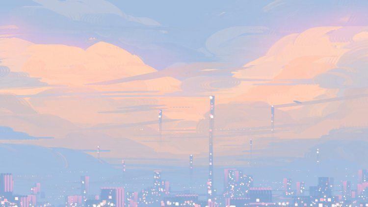Mellow Clouds Aesthetic Desktop Wallpaper Pastel Landscape Desktop Wallpaper Art