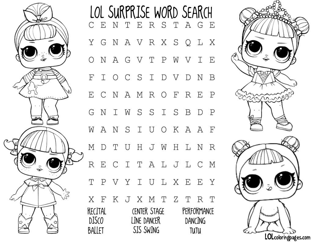 Dance Club Lol Doll Word Search Lol Dolls Birthday Party Activities Birthday Surprise Party