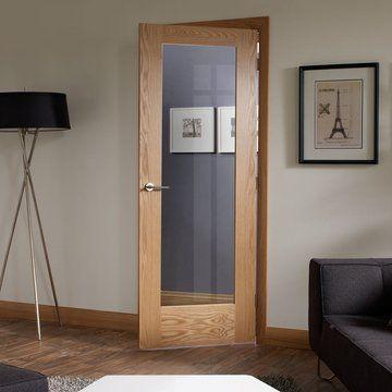 Pattern 10 Shaker Oak Door With Obscure Safety Glass Oak Doors
