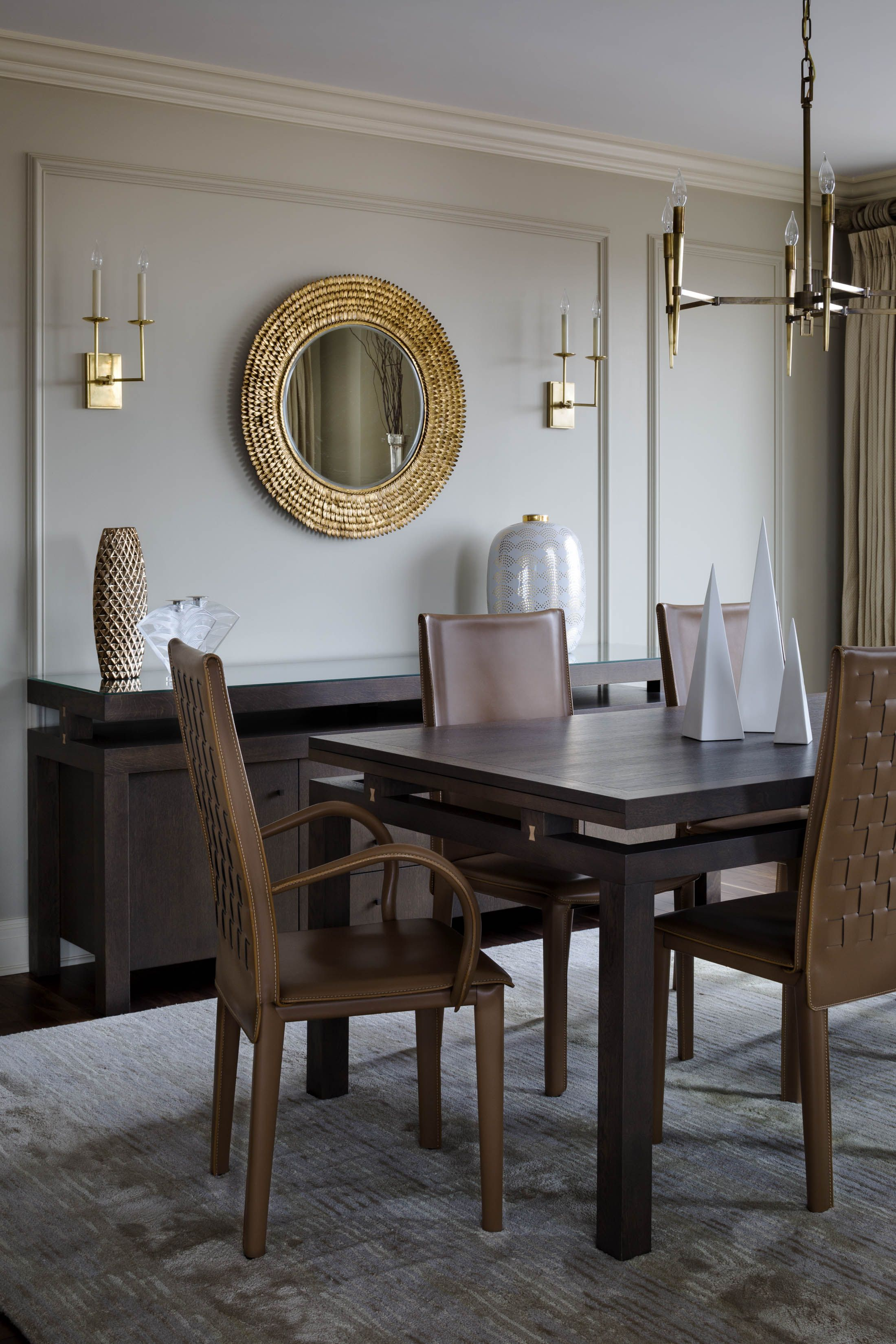 Dining Room Heather Vaughan Design Gold Brown Neutral