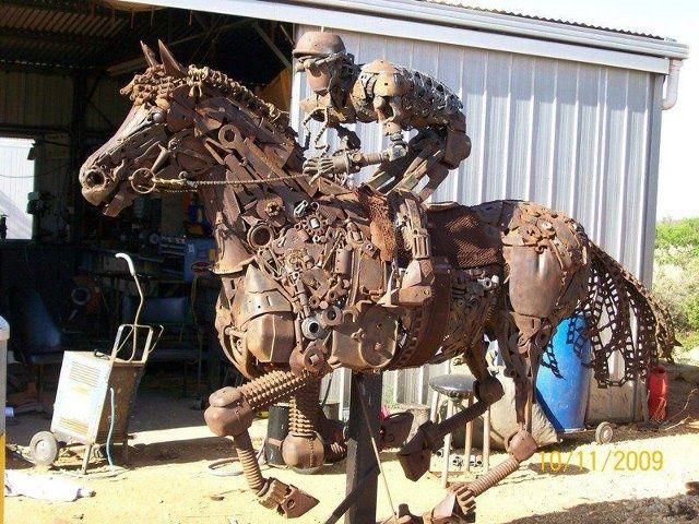 Recycled Metal Horse And Rider By Australian Metal Sculptor Andrew Whitehead Scrap Metal Art Metal Art Metal Tree Wall Art