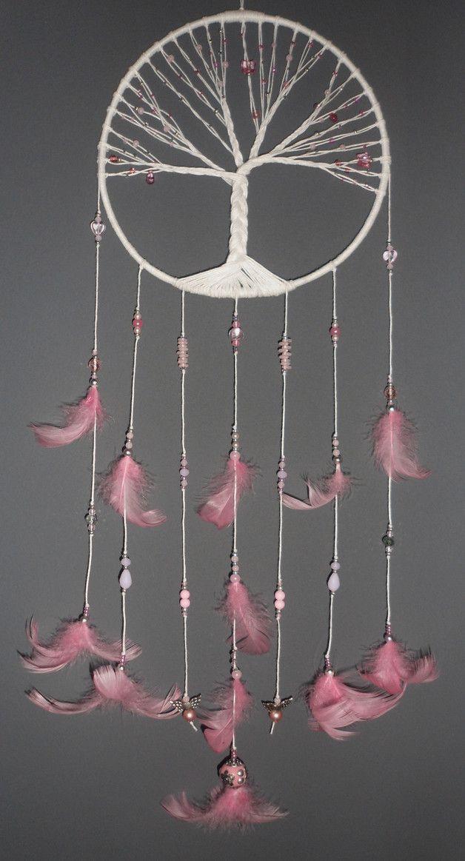 d corations murales attrape r ves rose arbre de vie est. Black Bedroom Furniture Sets. Home Design Ideas