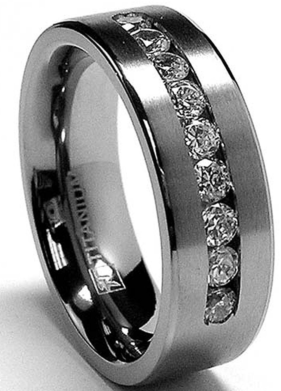 b2e270f4be7de 8 MM Men's Titanium ring wedding band with 9 large Channel Set Cubic ...