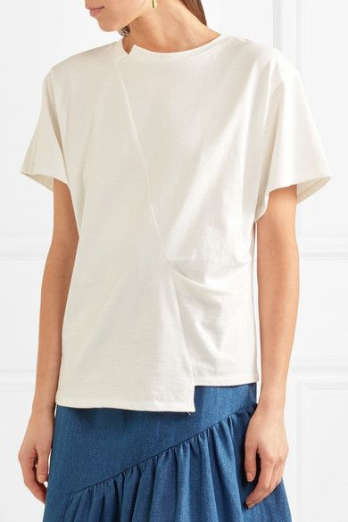 Sabrina Pleated Cotton-jersey T-shirt - White Rejina Pyo Comfortable Outlet New Styles New And Fashion sosia