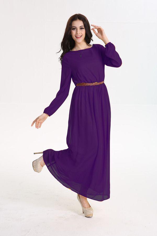Muslim Abaya Casual Black Dress Women Slim Robe Islamic Long Sleeve Autumn Gowns