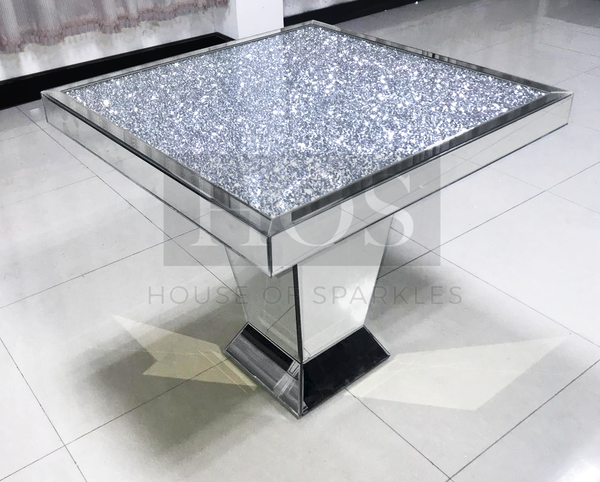 Diamond Crush Dining Table Exclusive Design To 2018 Product Description The Exclusive Diamond Crush Mirrored Furniture Decor Dining Table Mirrored Furniture