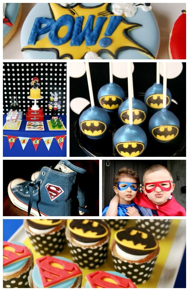 Here are some great superhero party ideas, perfect for a boy birthday. Check out the birthday cake, Batman cake pops, and superhero cupcakes. See the rest of the superhero party at CatchMyParty.com: http://catchmyparty.com/parties/superhero-birthday-2! #superheroes #boybirthday