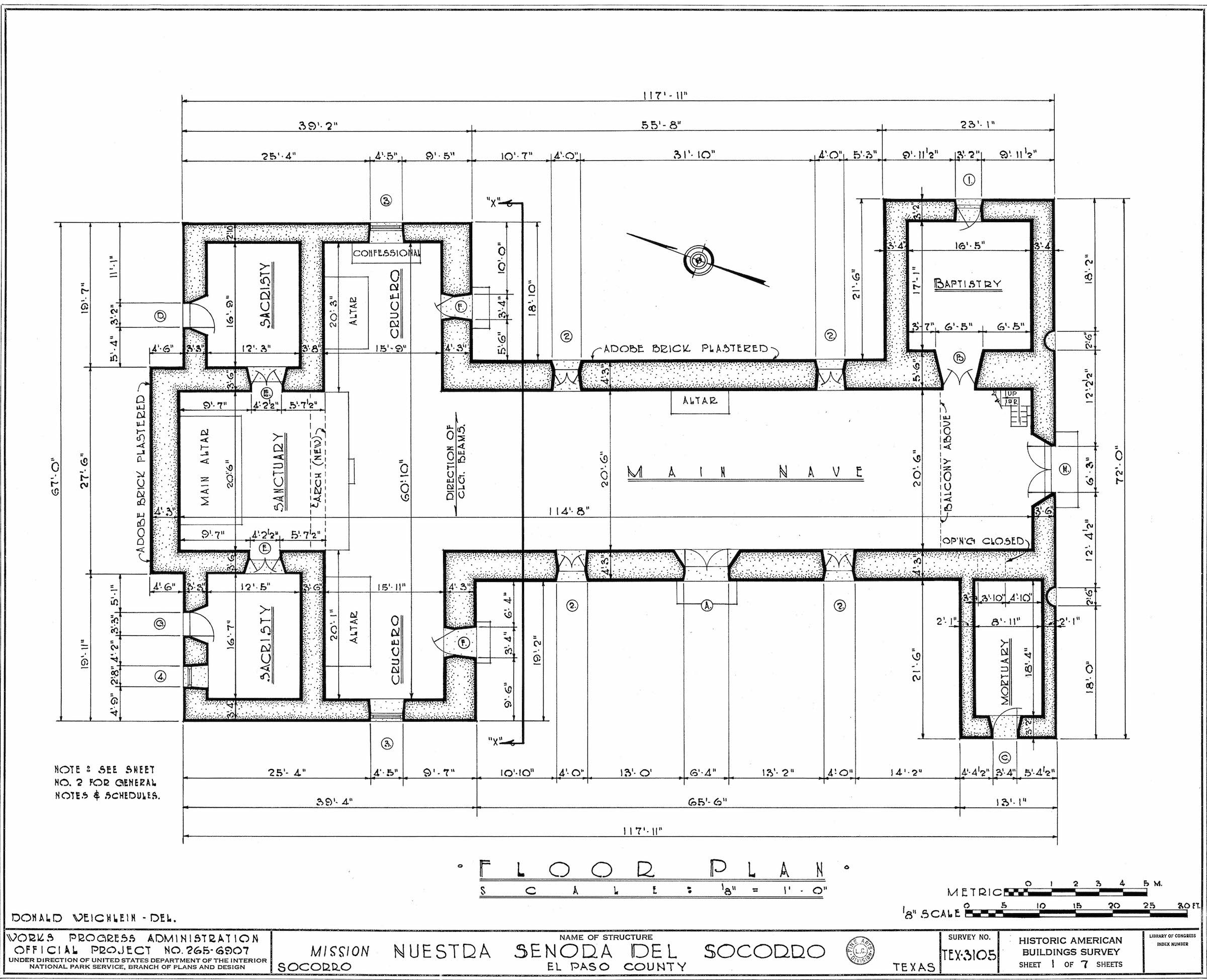 Mission Socorro El Paso Tx This Floor Plan Of The Mission Was Created In The 1930 S By The Histor California Missions Floor Plans United States Of America