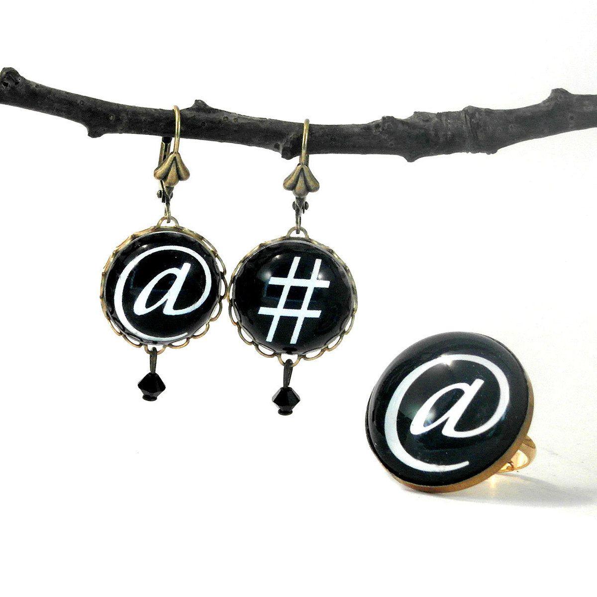 Earrings ring set black trending