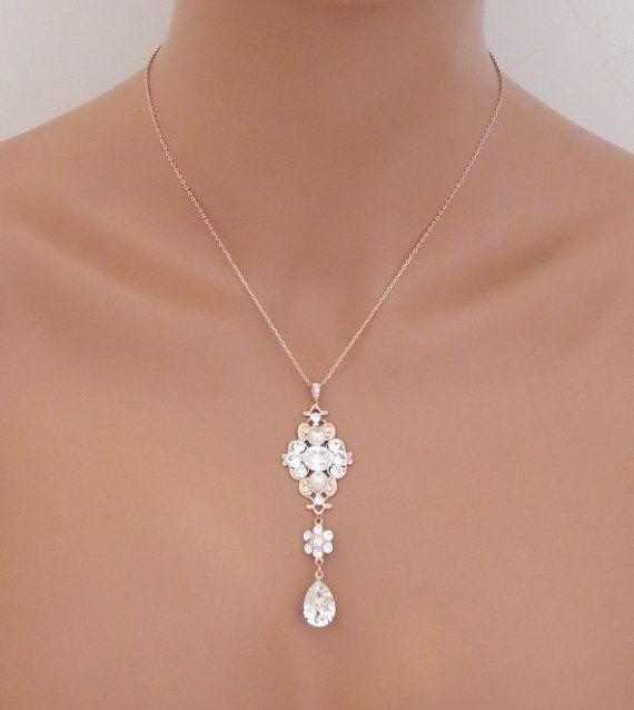 Collier de mariée or rose, collier de mariage Simple, bijoux de mariage,  collier