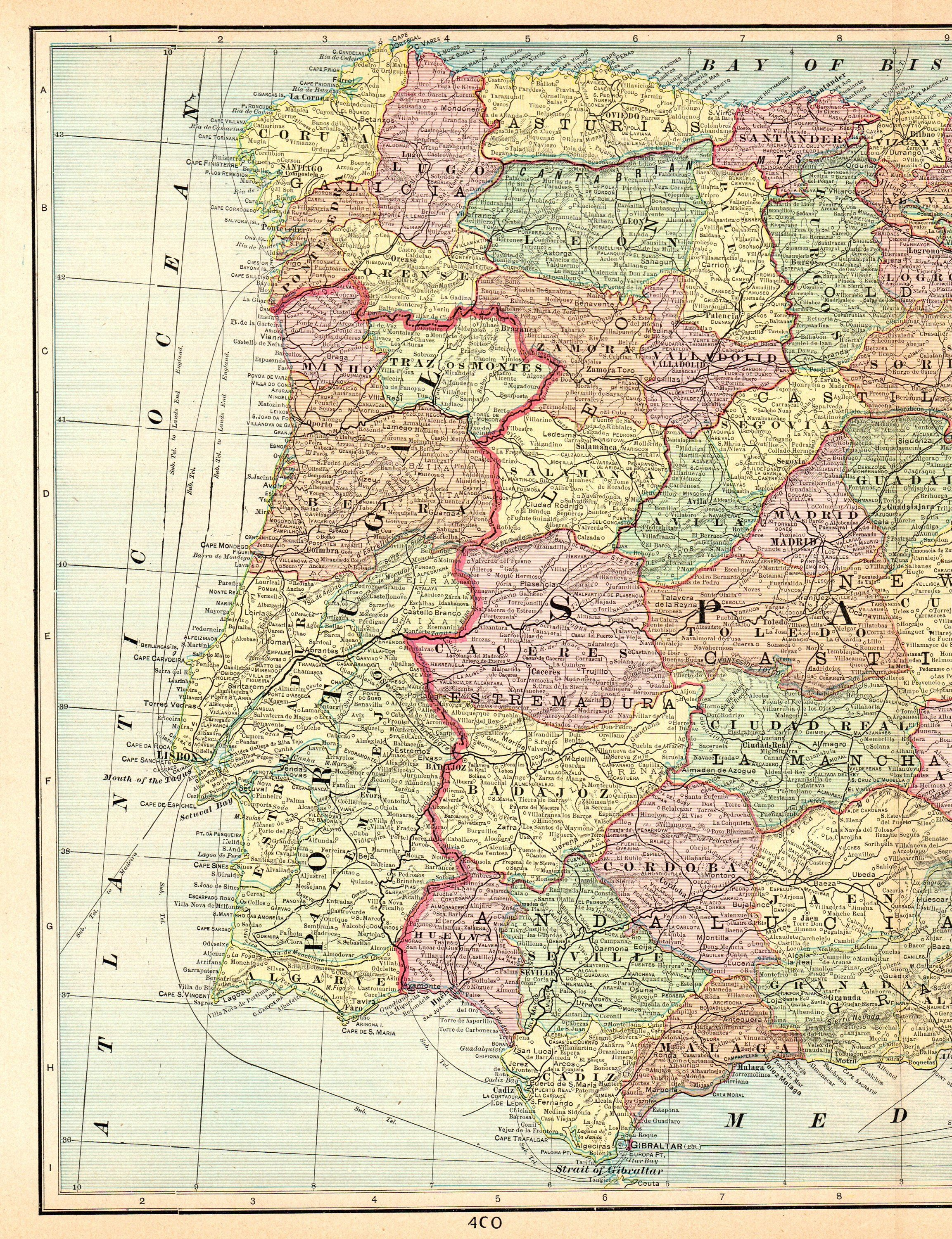 Map Of Spain For Printing.1903 Antique Spain And Portugal Map Vintage Collectible Map Of Spain