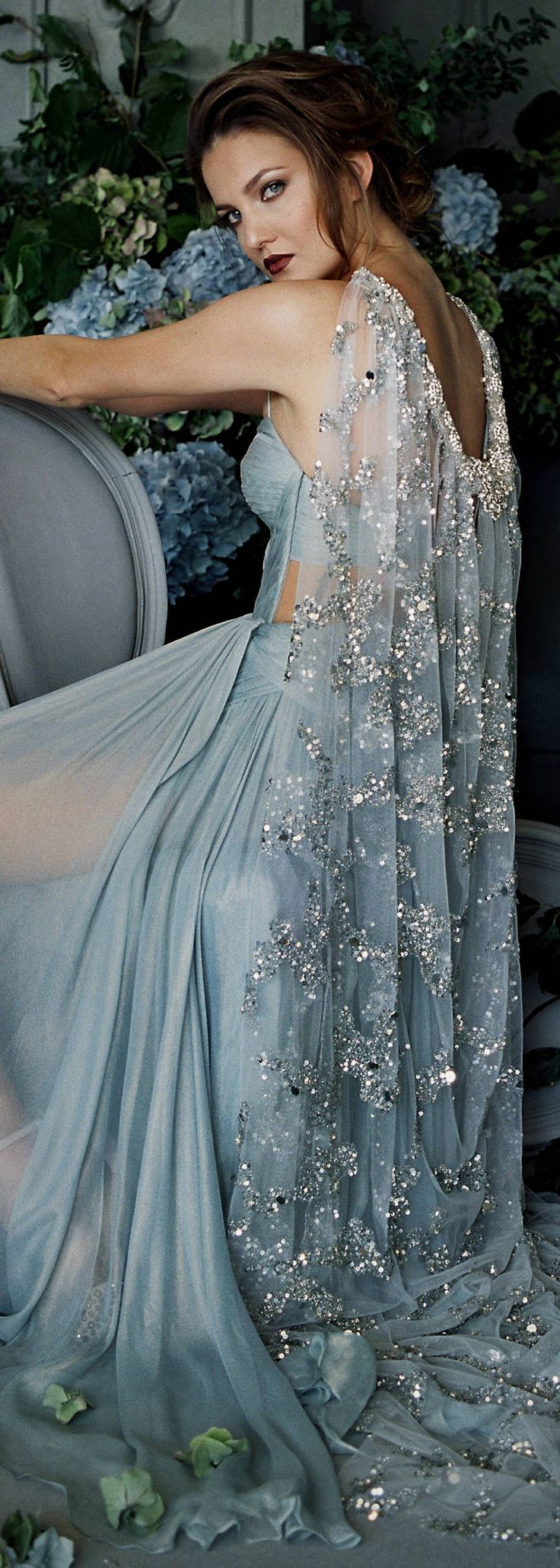 Beaded crystal pearl silk cape veil train perfect to compliment any
