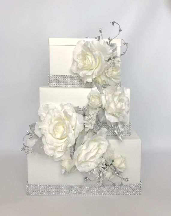 Wedding Card Box Cascade Silver Bling And Ivory By Wrapsodyan