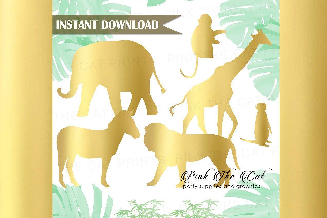 Gold Foil Safari Animals Clipart Animal Clipart Safari Animals Animals