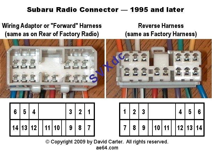 Subaru Legacy Outback Baja Radio Harness Pin Out Subaru Subaru Legacy Radio