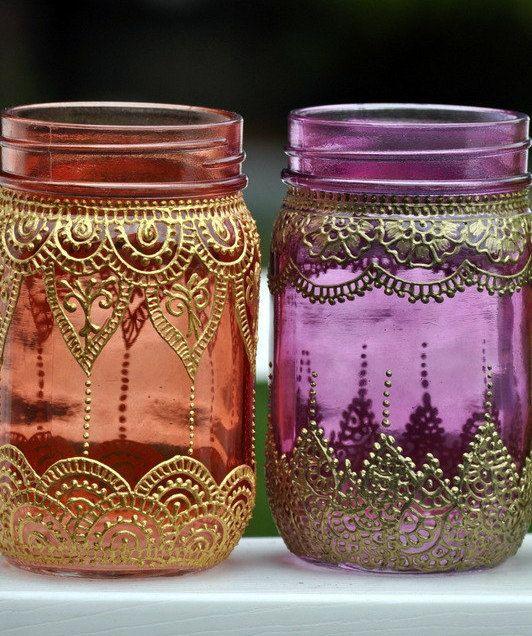 Set Of 2 Mason Jars Boho Lanterns Decorated With Henna Design