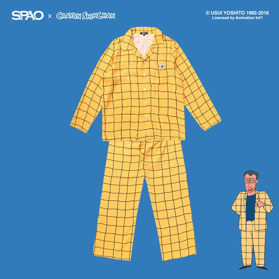 eba7a609 Crayon Shin Chan x SPAO Collaboration Official Principal Yellow Pajama Set