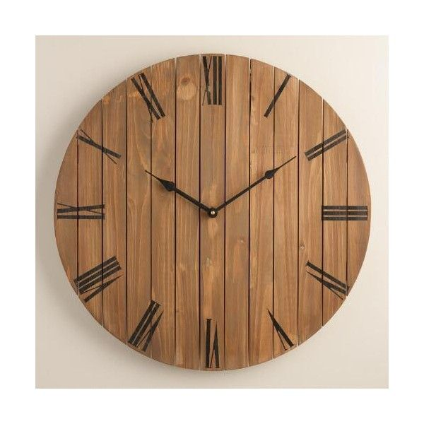 Cost Plus World Market Slatted Wood Wall Clock 50 Liked On Polyvore Featuring Wood Wall Clock Farmhouse Gallery Wall Living Room Gallery Wall Living Room