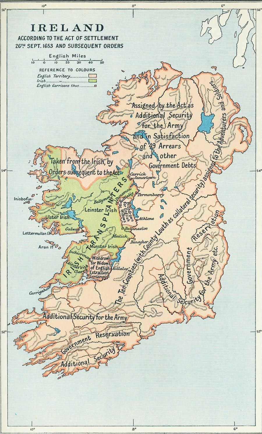 Map Of Southern Ireland Counties.Map Of Ireland After The Settlement Act Of 1653 Maps Ireland Map
