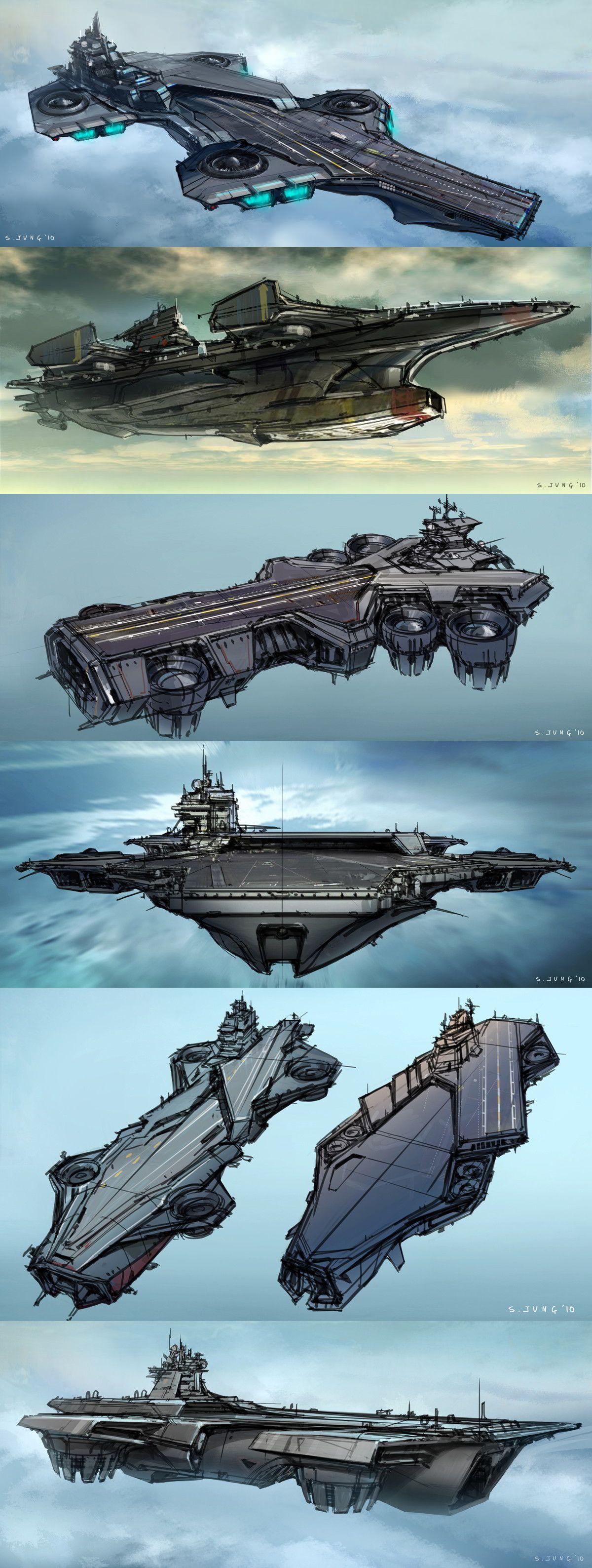 중고렙 순양함 /모함 Helicarrier designs, by Steve Jung || The Avengers || 736px × 1,947px || #conceptart