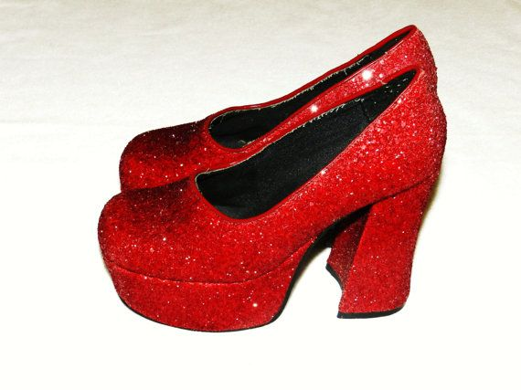 5b137b97c36 Vintage 90s Sparkly Red Platform Shoes | Ruby Slippers | Red ...