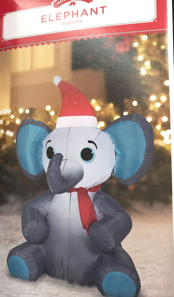 airblown christmas inflatable elephant 35 tall holiday time outdoor decor gemmy - Christmas Elephant Outdoor Decoration