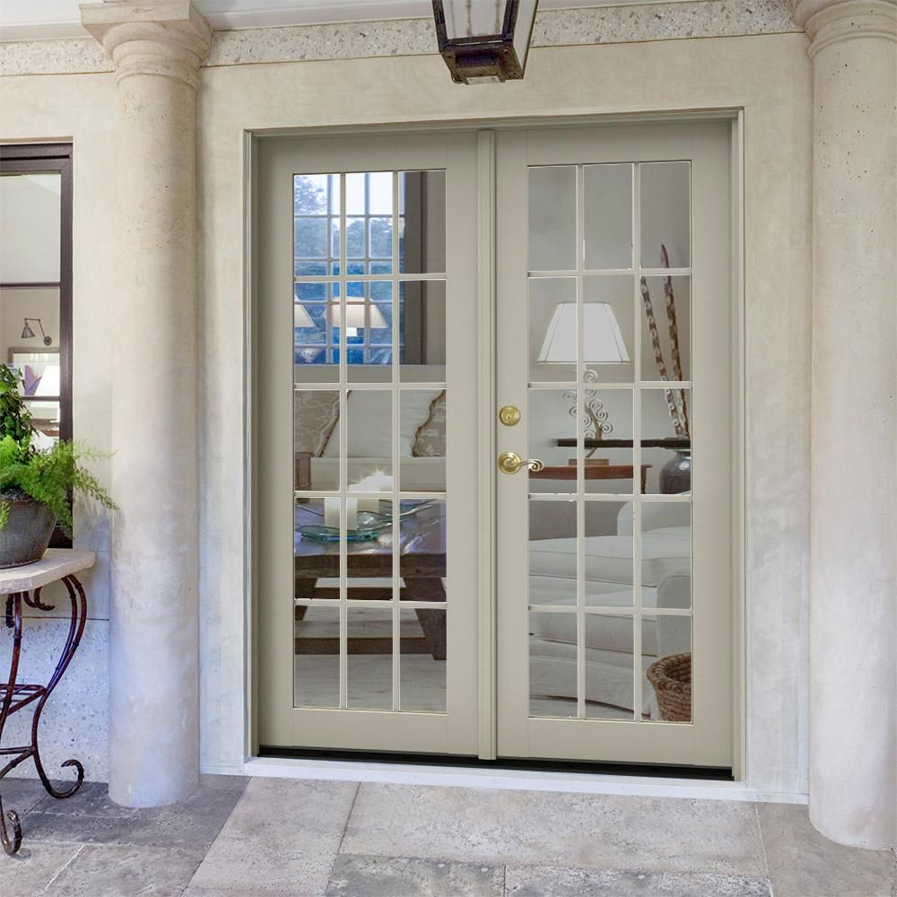 Jeld Wen 60 In X 80 In W 2500 Desert Sand Clad Wood Right Hand 15 Lite French Patio Door W Stained Interior Thdjw221900188 The Home Depot French Doors Patio French Doors Exterior Patio Doors