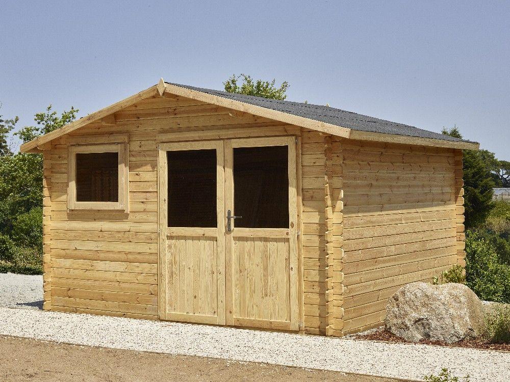Abri Bessay 12 m² en Pin #abris de #jardin #bois #extérieur Abris - Montage D Un Garage En Bois