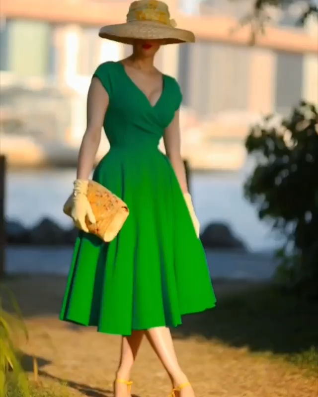 Green Sash Vintage Dress