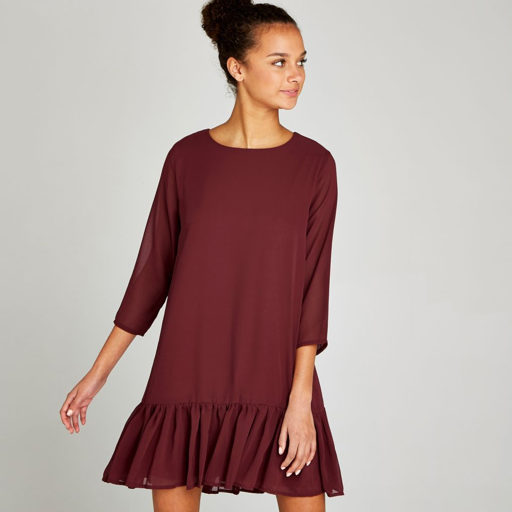 9d94ccfed203 Hover to zoom Burgundy Chiffon Drop Ruffle Shift Dress | AW18 ...