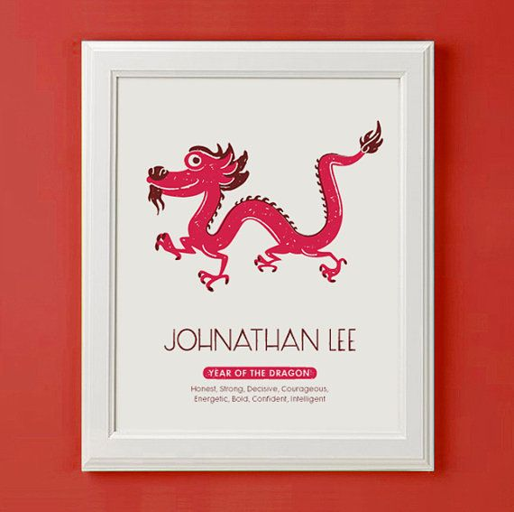 Year Of Dragon Chinese Zodiac SIgn Children's by mytinytotcreative, $16.00