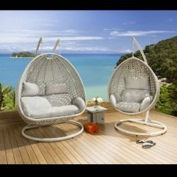 Outdoor Garden Single And Double Hanging Pod Chair Set Stone Silver
