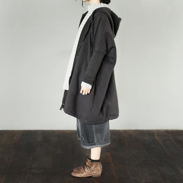 Gray Hood Jacket Loose Fleece Coat Women Tops W789
