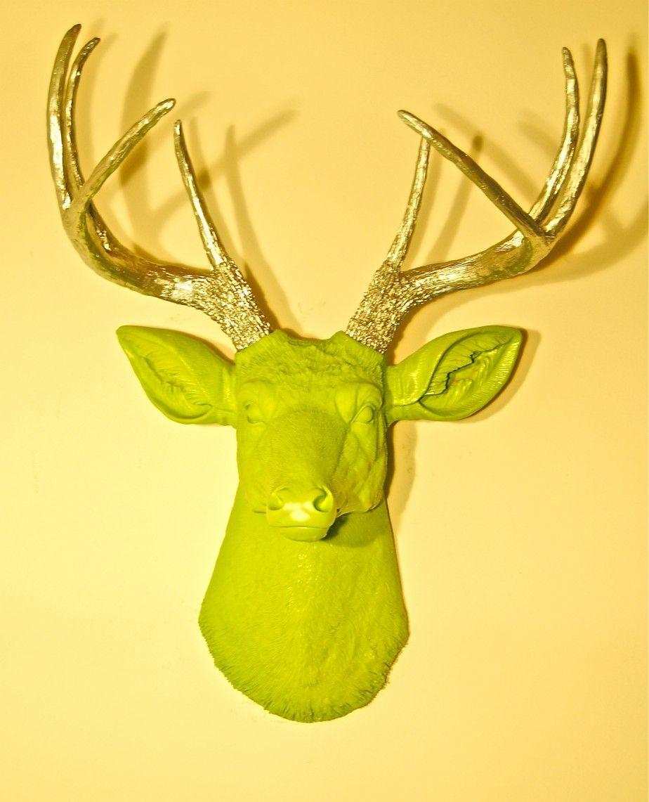 uncategorized-great-apple-green-resin-deer-head-with-chrome-antlers ...