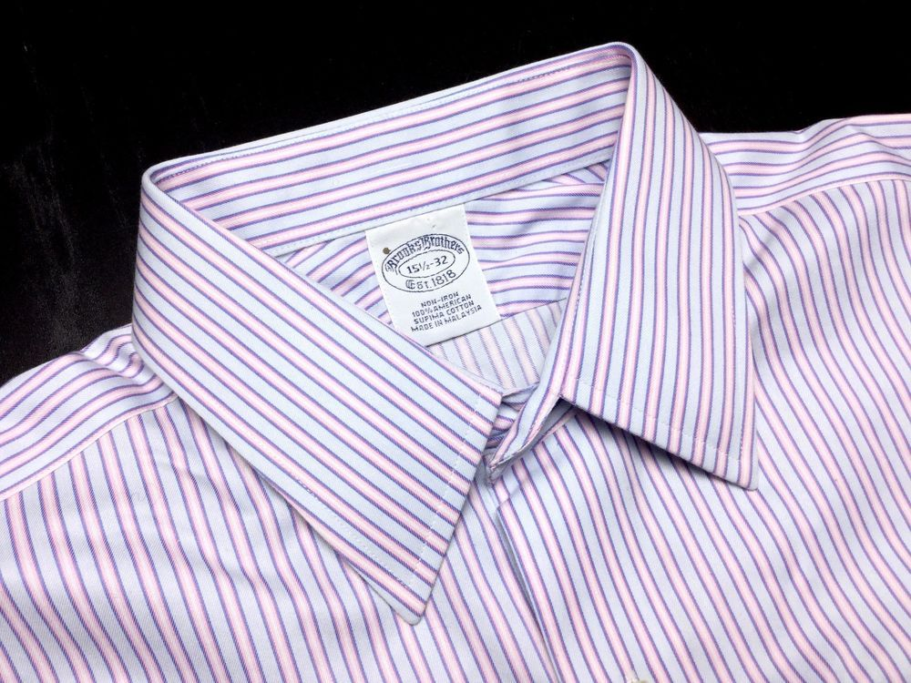 BROOKS BROTHERS Mens 15.5 32 Blue Pink Striped Supima Non-Iron French Cuff Shirt #BrooksBrothers | Men's Fashion & Style | Menswear | Moda Masculina | Shop at designerclothingfans.com